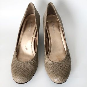 BCBGeneration | Tallie Taupe Snakeskin Wedge Shoes